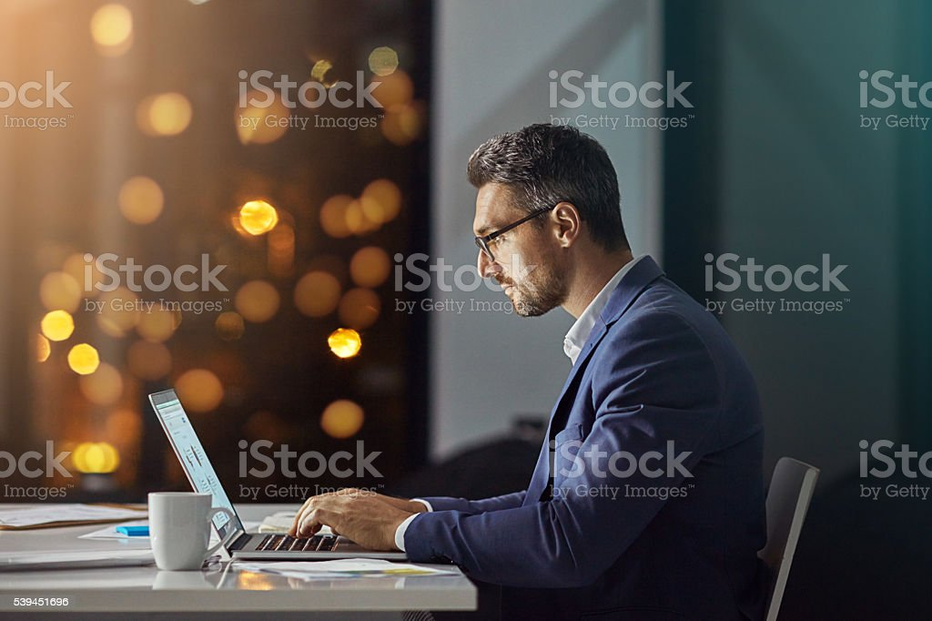 100% invested in the project stock photo