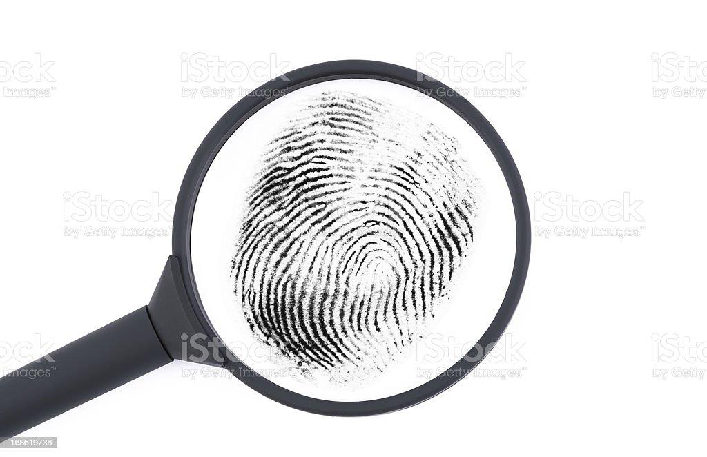 Investigating a fingerprint stock photo