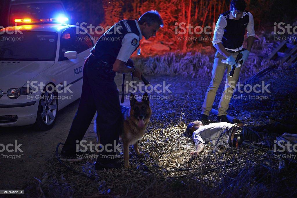 Investigating the crimescene stock photo