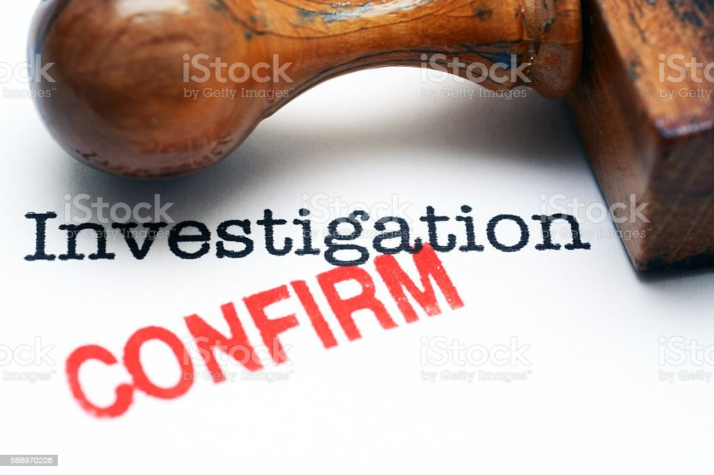 Investigation - confirm stock photo