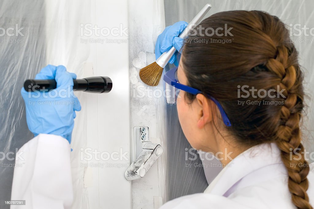 Investigation on Crime scene - Theft royalty-free stock photo