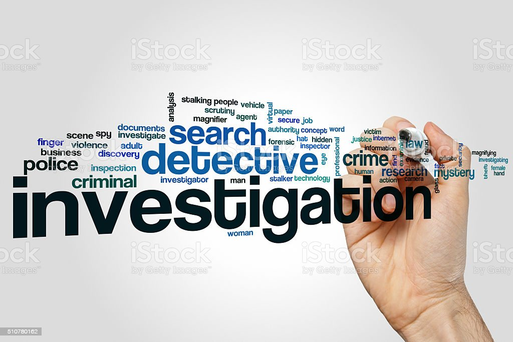 Investigation word cloud concept stock photo