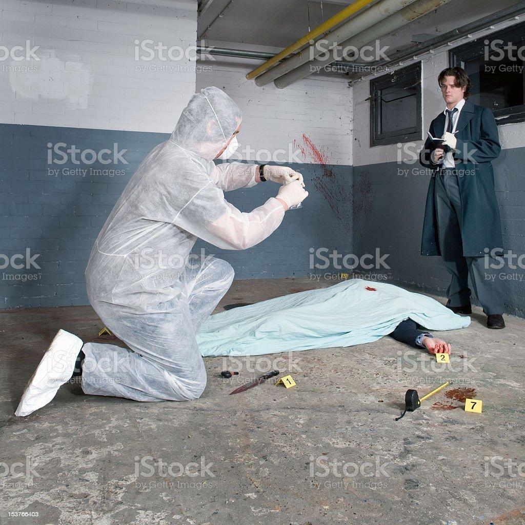Investigators performing a crime scene investigation stock photo