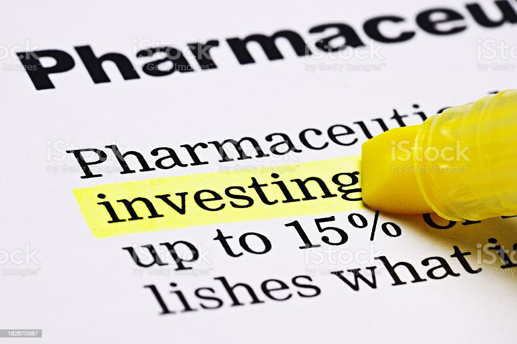 'Investing' is highlighted under the heading 'Pharmaceuticals' royalty-free stock photo