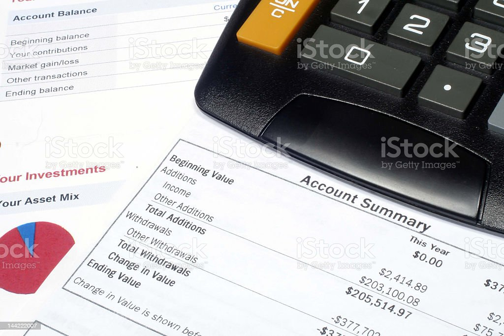Investment Account Summary royalty-free stock photo