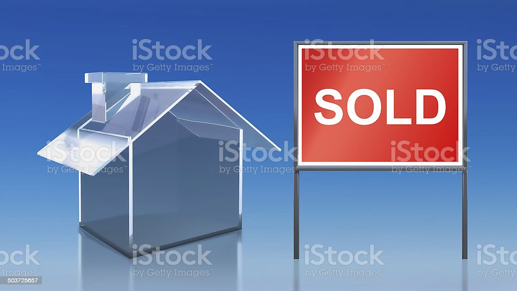 investment blue glass house sold royalty-free stock photo
