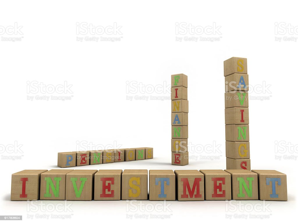 Investment concept - Child's play building blocks stock photo