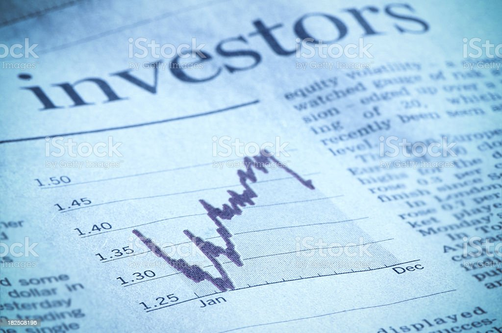 Investment diagram in financial magazine, investors headline, Euro, dollar stock photo
