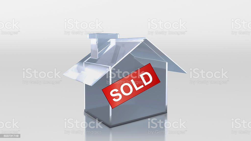 investment glass house sold label royalty-free stock photo