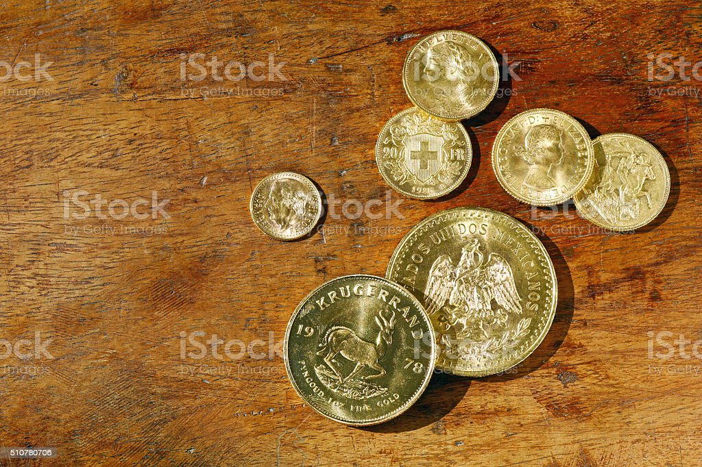 Investment gold coins stock photo