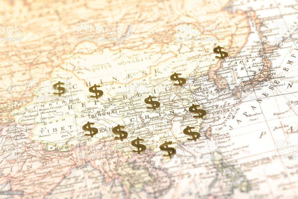 Investment in Asia and China with Dollar Signs on Map royalty-free stock photo