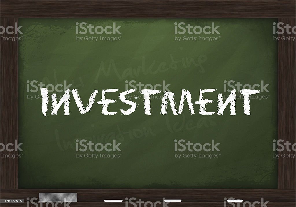 Investment on chalkboard royalty-free stock photo