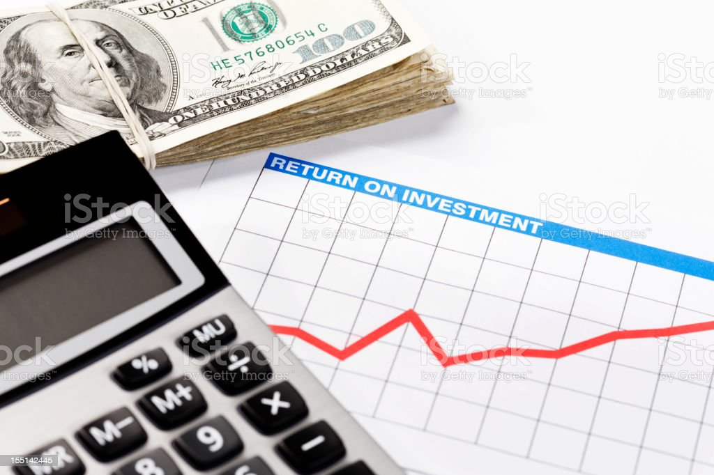 Investment prospects look good: rising graph, calculator and money royalty-free stock photo