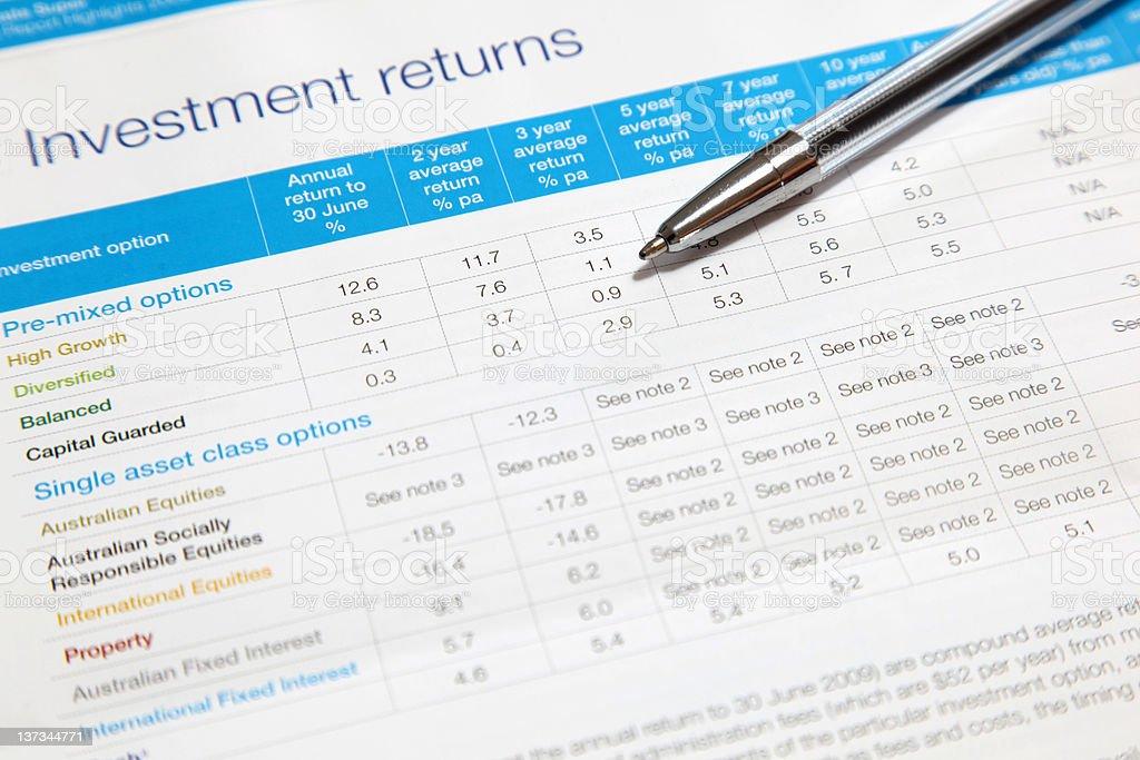 Investment returns stock photo