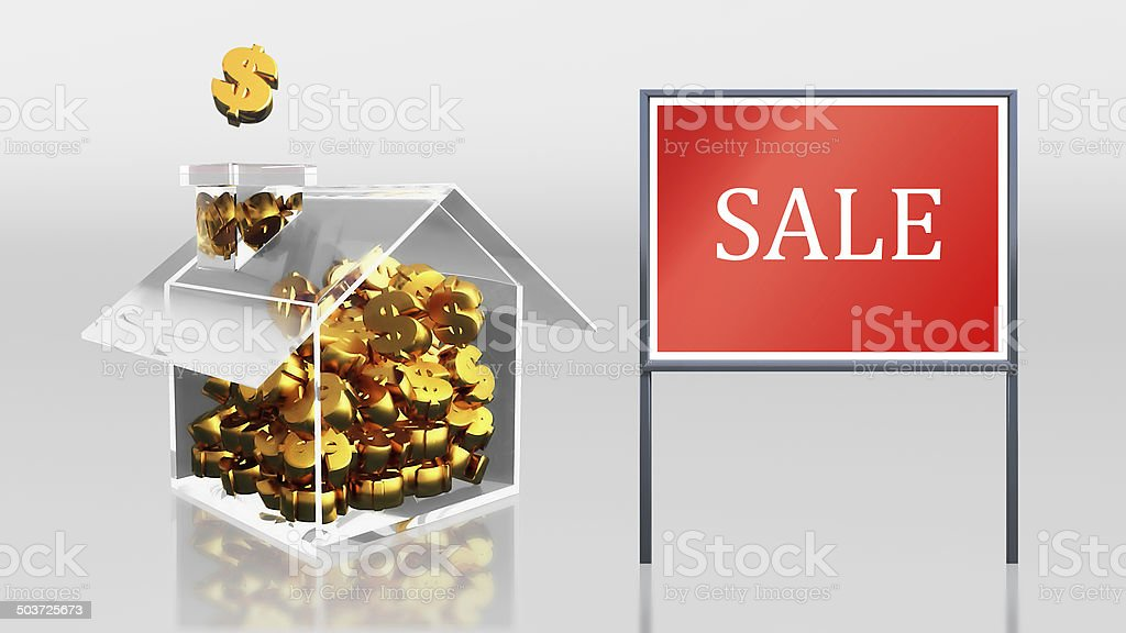 investment saving dollar at house sale royalty-free stock photo