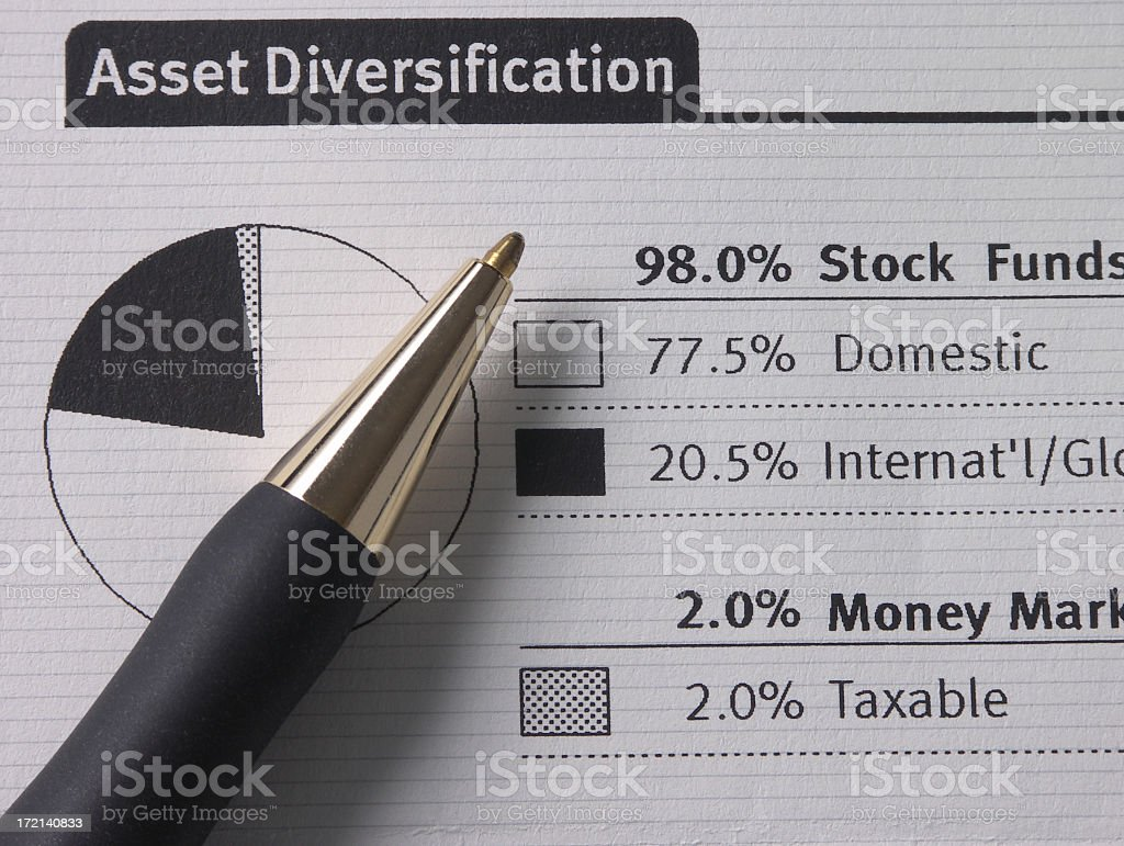 Investment statement depicting asset allocation stock photo
