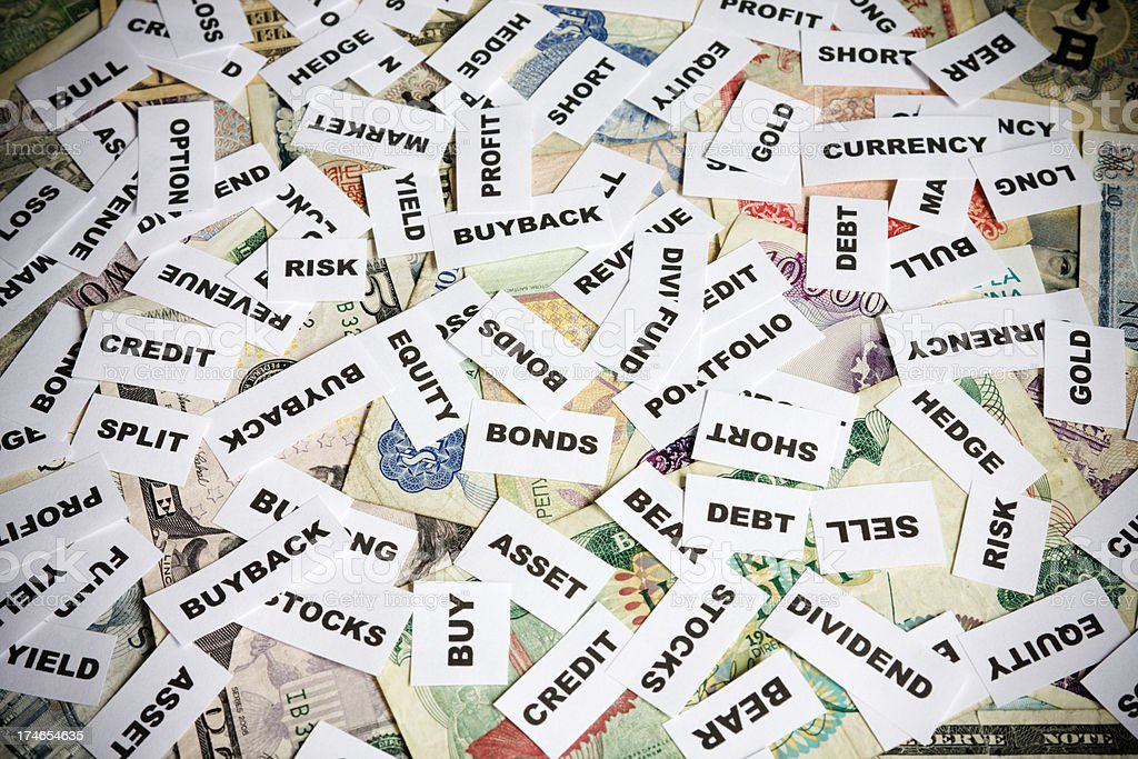 Investment terms on currency background. royalty-free stock photo