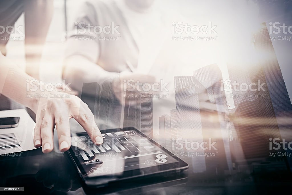 Investment work process.Double exposure photo woman showing business reports stock photo
