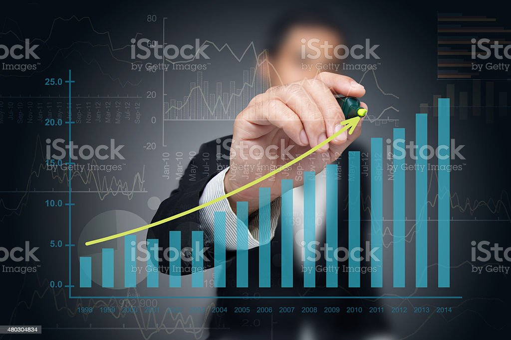 Investor drawing chart. stock photo