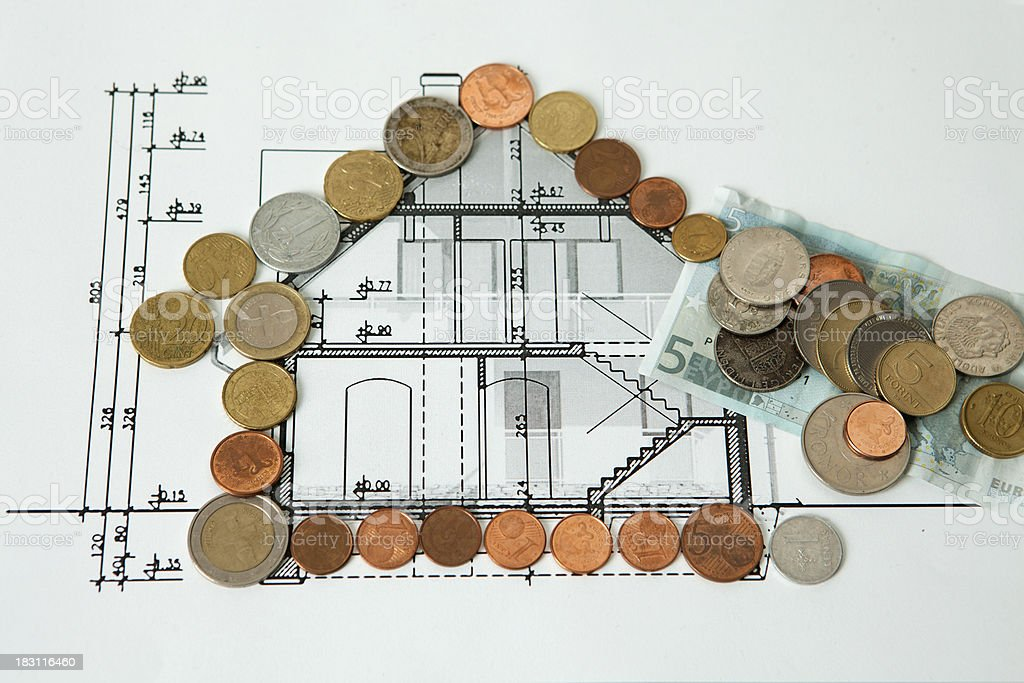 Investor finances the construction of a house stock photo