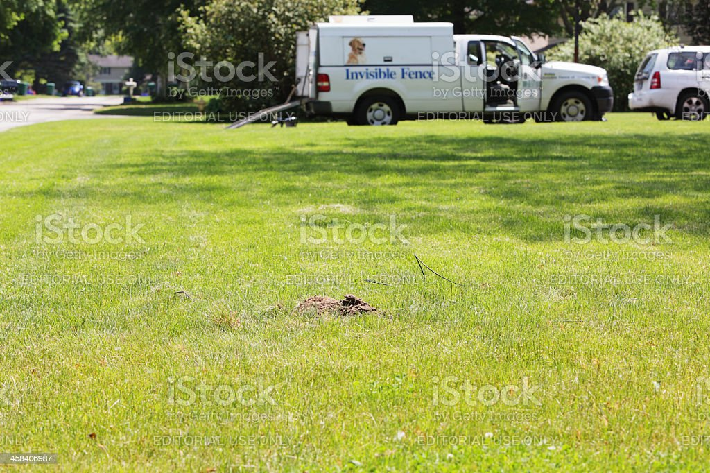 Invisible Fence Brand Dog Containment Installation stock photo