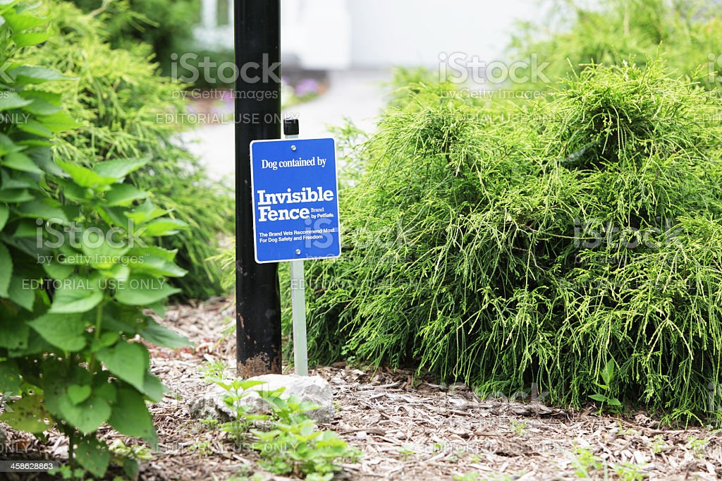 Invisible Fence Brand Sign stock photo