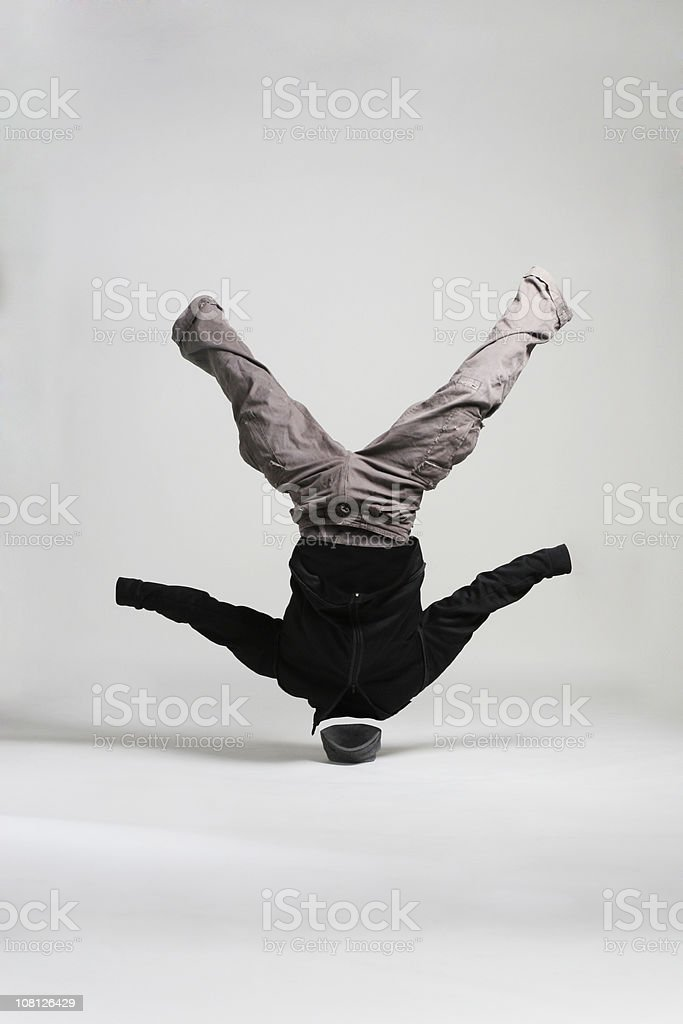 Invisible Man Breakdancing and Spinning on Head royalty-free stock photo