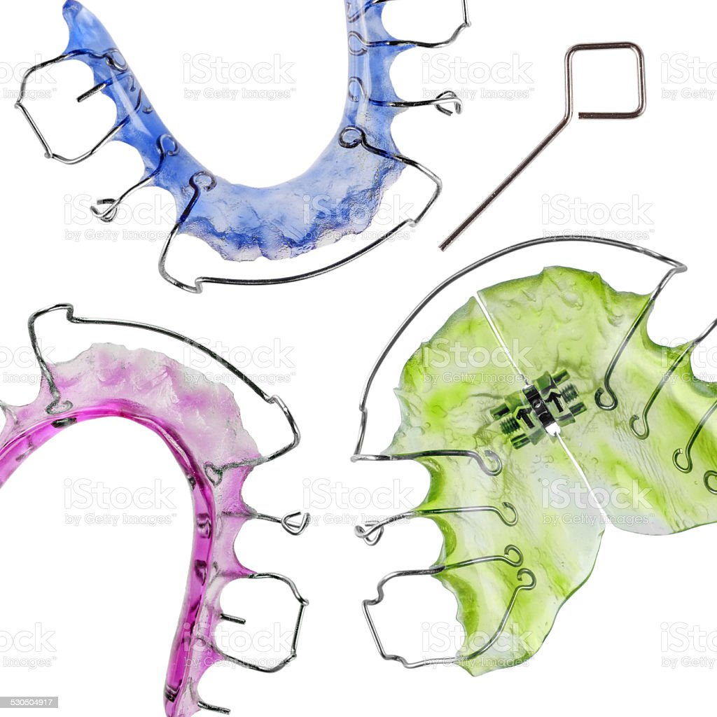 Invisible retainer and braces, orthodontia stock photo