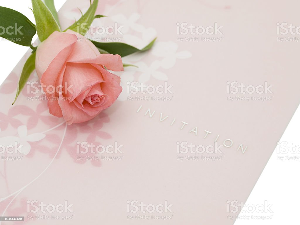 Invitation and one rose royalty-free stock photo