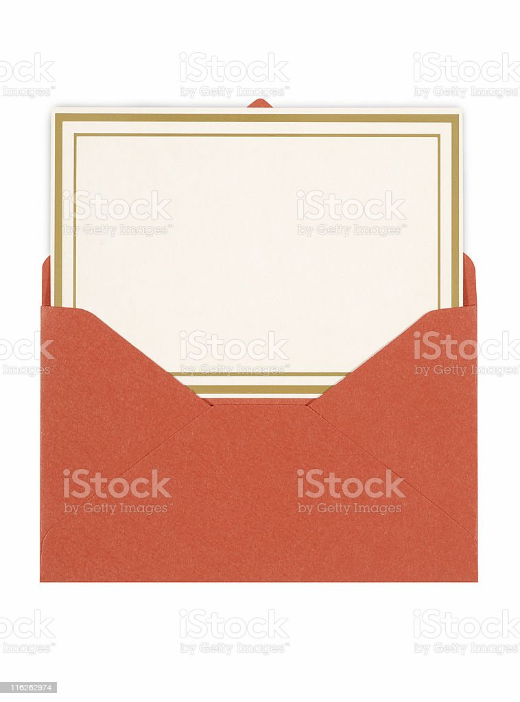 Invitation card with red envelope royalty-free stock photo