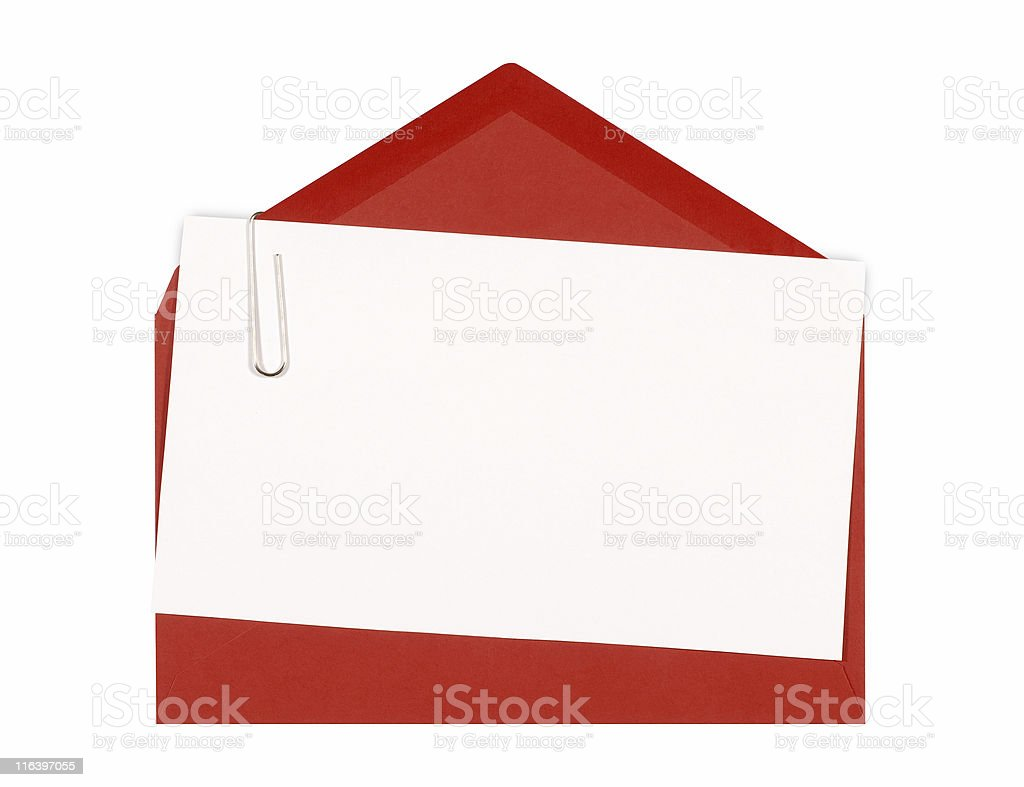 Invitation card with red envelope stock photo