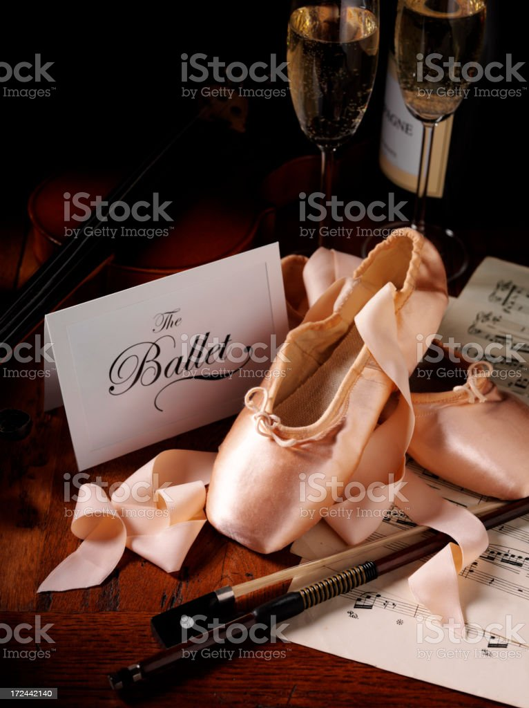 Invitation for The Ballet with Slippers and Sheet Music royalty-free stock photo