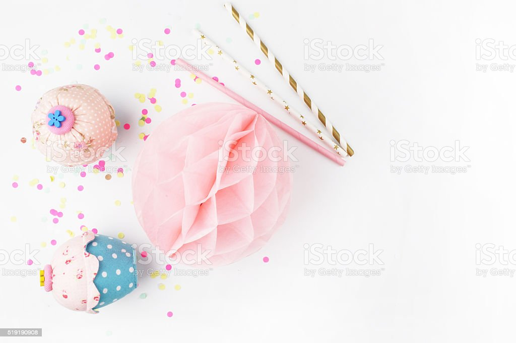 Invitation mockup. Confetti and muffins. cake stock photo