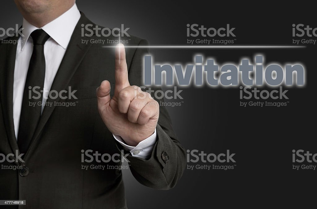 Invitation touchscreen is operated by businessman stock photo