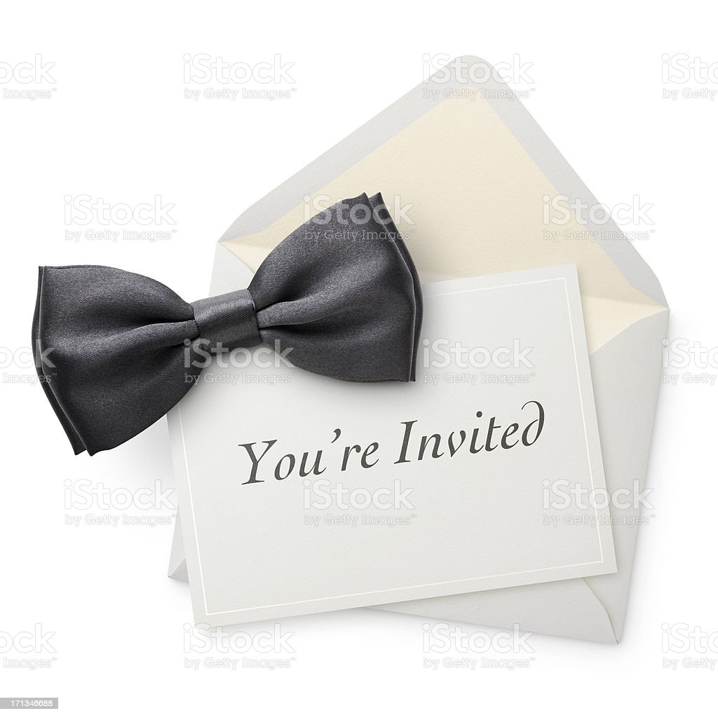 Invitation with bow tie. royalty-free stock photo