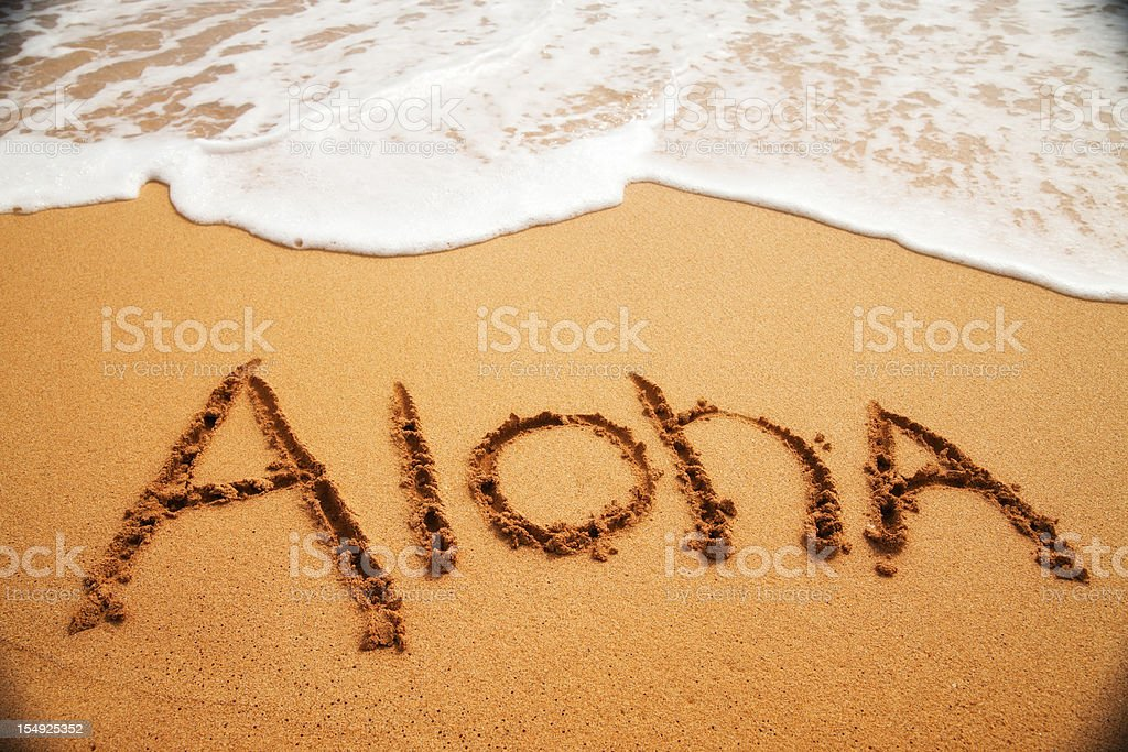 Inviting 'Aloha' written in the sand with surf. stock photo