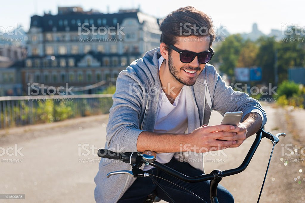 Inviting friend for a ride. stock photo