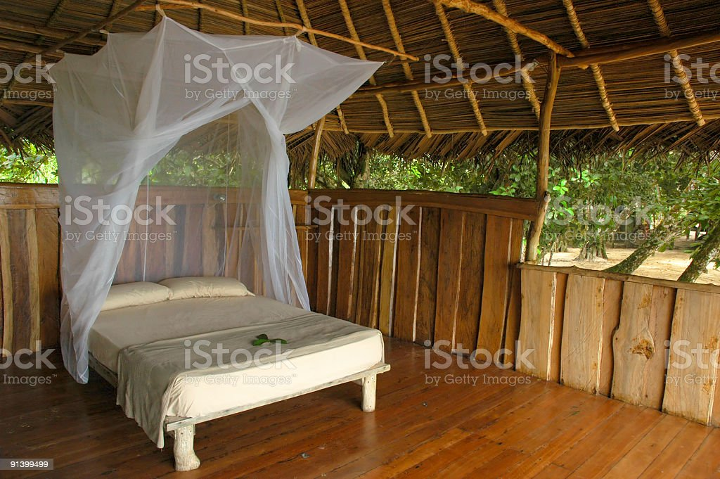Inviting hut at eco-resort stock photo