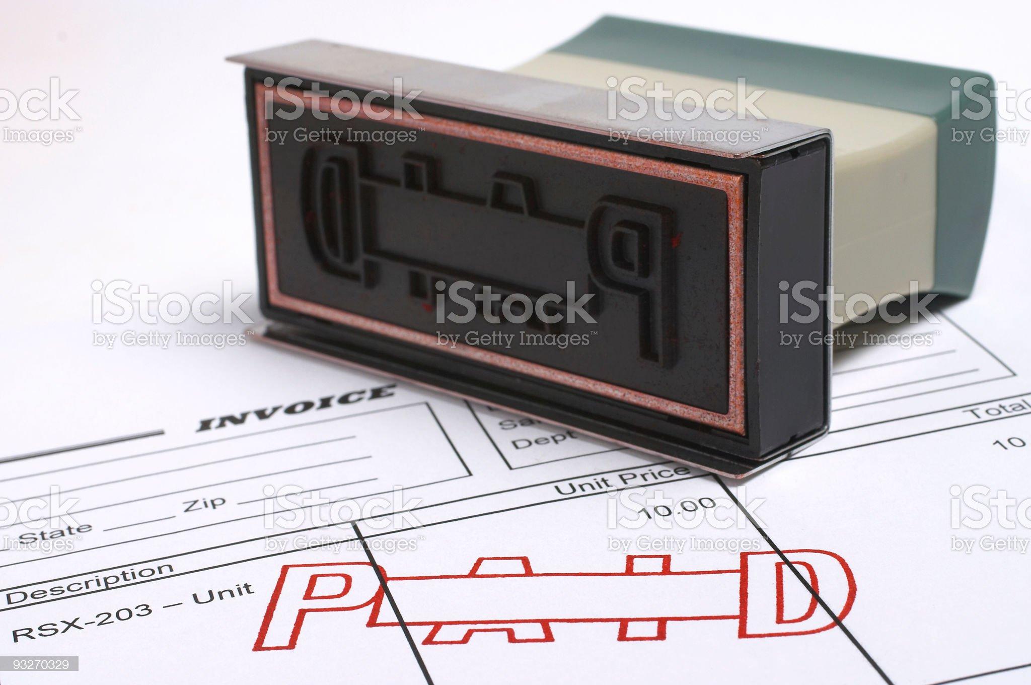 Invoice - Paid royalty-free stock photo