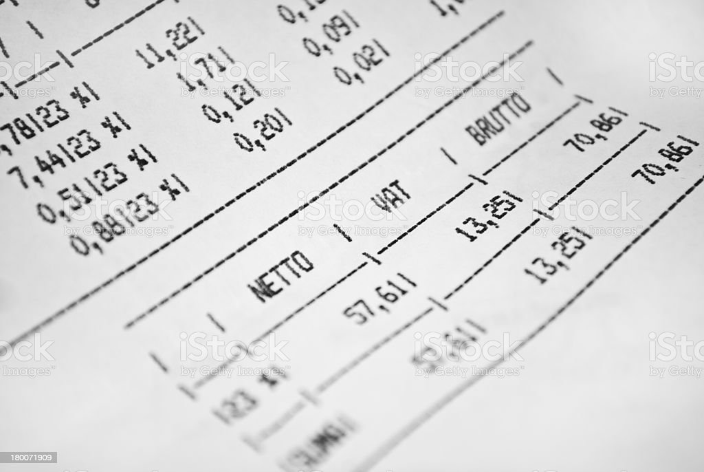 Invoice sheet with gross net prices and vat tax value royalty-free stock photo