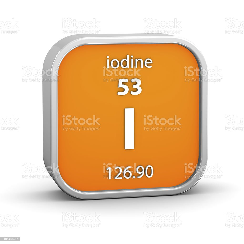 Iodine material sign stock photo