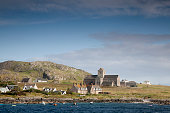 Iona Abbey in Scotland by the ocean