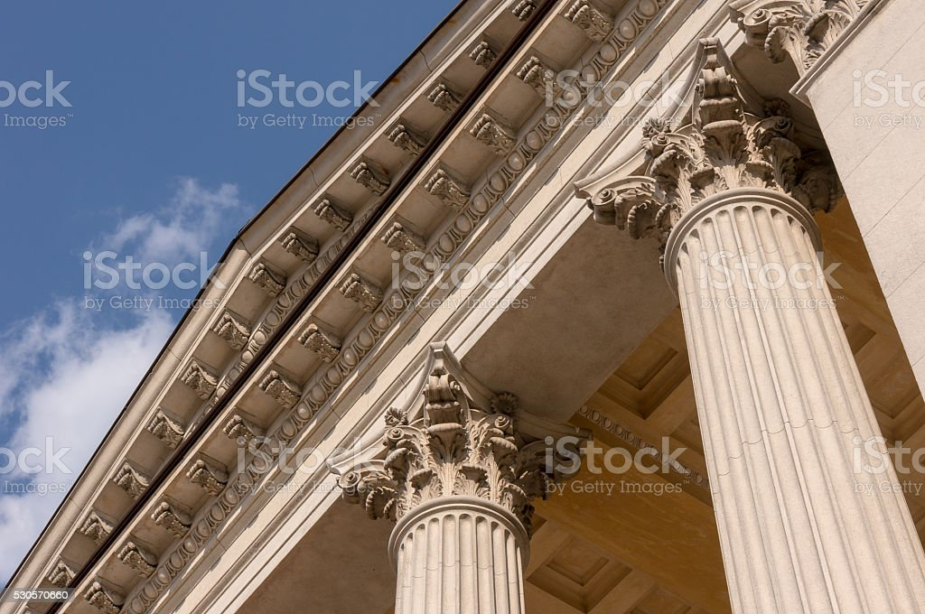 Ionian column capital architectural detail stock photo