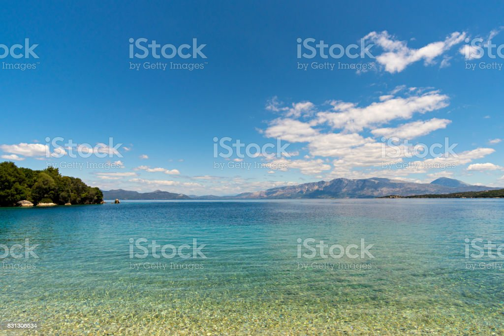 Ionian sea view from Meganisi island stock photo