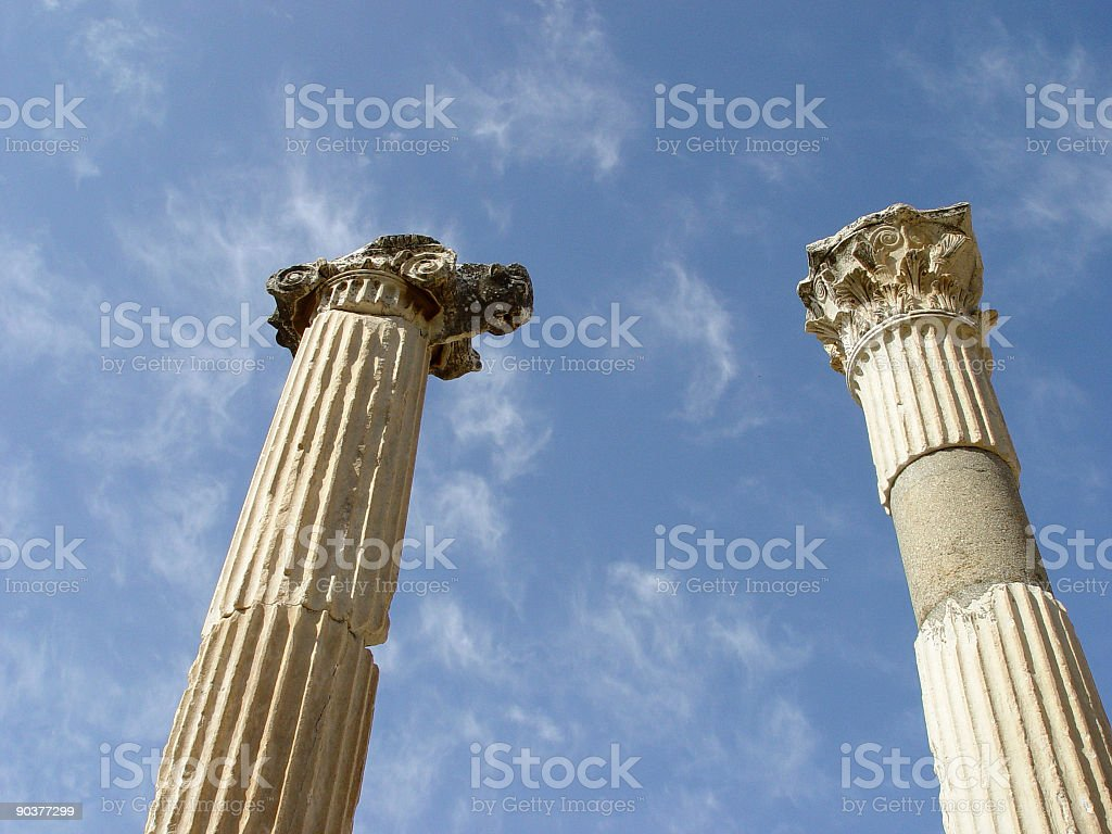 Ionic and Corinthian Column at Ephesus royalty-free stock photo