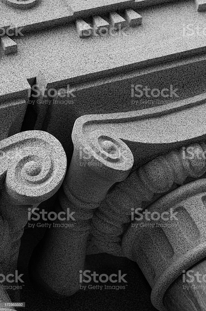Ionic columns in B&W royalty-free stock photo