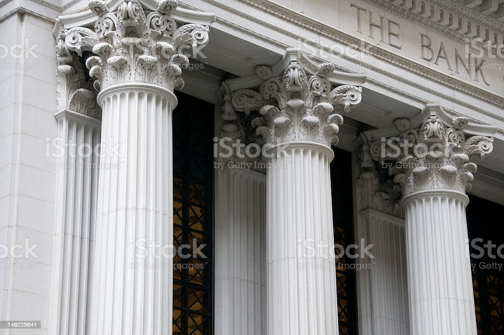 Ionic columns of a bank building stock photo