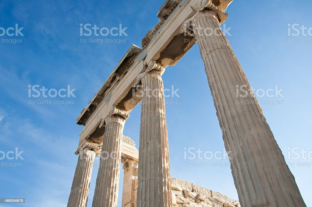 Ionic columns of the Erechtheion in Athens, Greece. stock photo