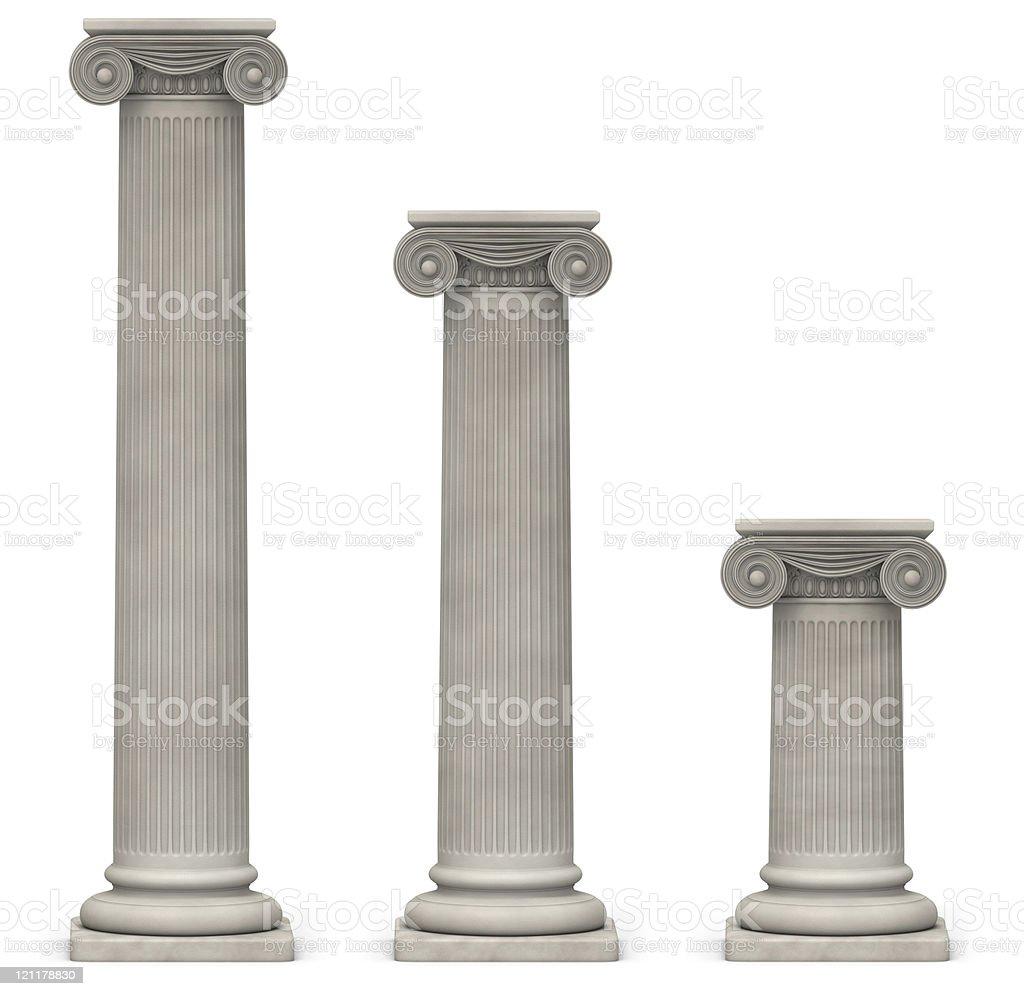 Ionic Columns on White stock photo