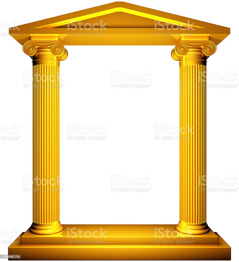 Ionic gold frame royalty-free stock photo